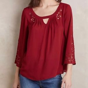 Anthropologie Maeve Laser Cut Out Top